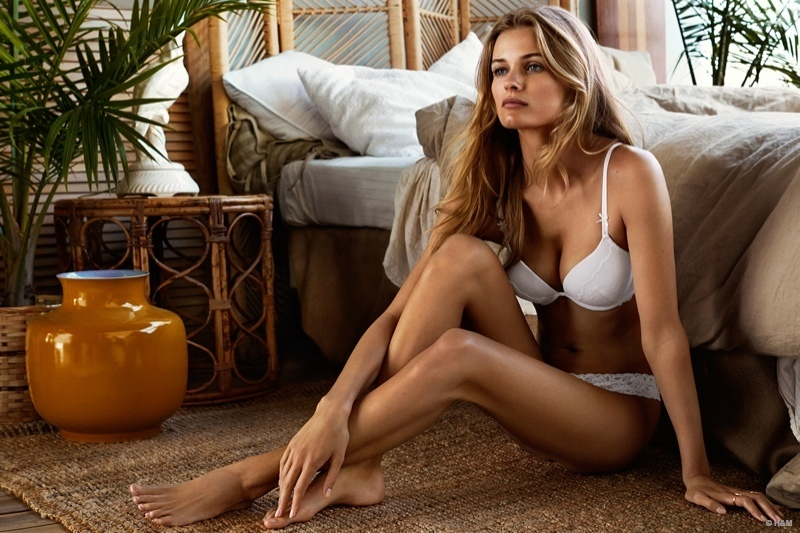 The blonde beauty shows off her long legs in the photo shoot.