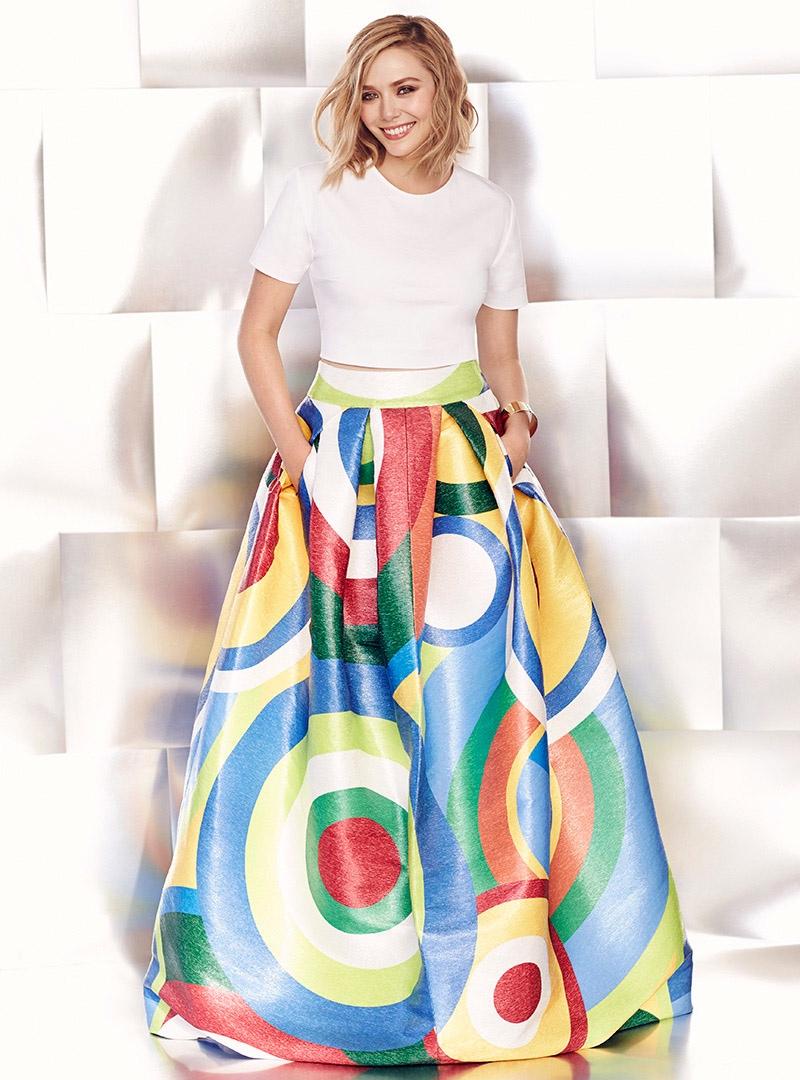 Elizabeth Olsen Shines in Spring Prints for FASHION