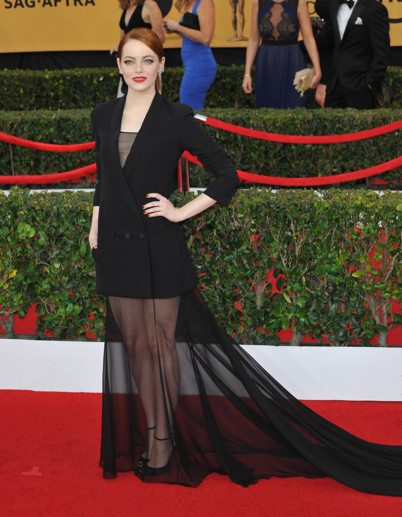 Emma Stone opted for a tuxedo inspired look with a sheer skirt at the 2015 SAG Awards. Jaguar PS / Shutterstock.com