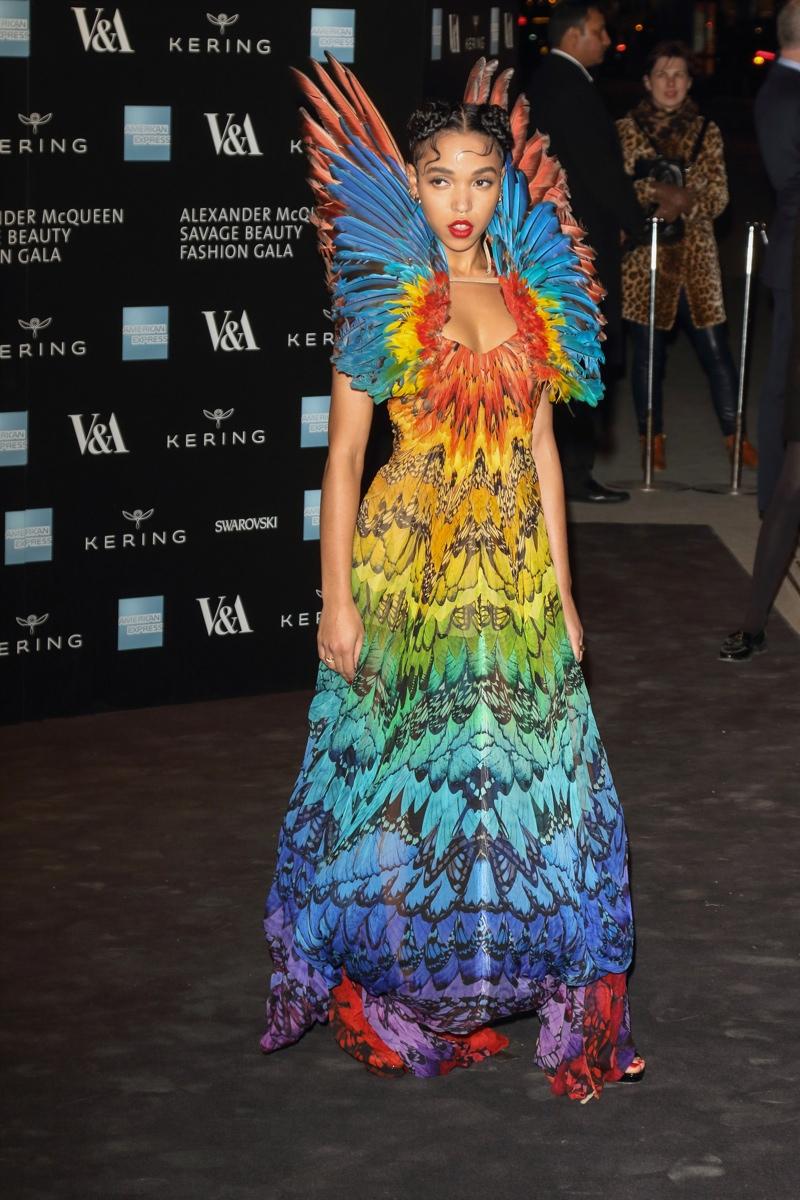 FKA Twigs looked rainbow fantastic in a vintage Alexander McQueen look at the 'Alexander McQueen: Savage Beauty' exhibit in 2015. Photo: Landmark / PR Photos
