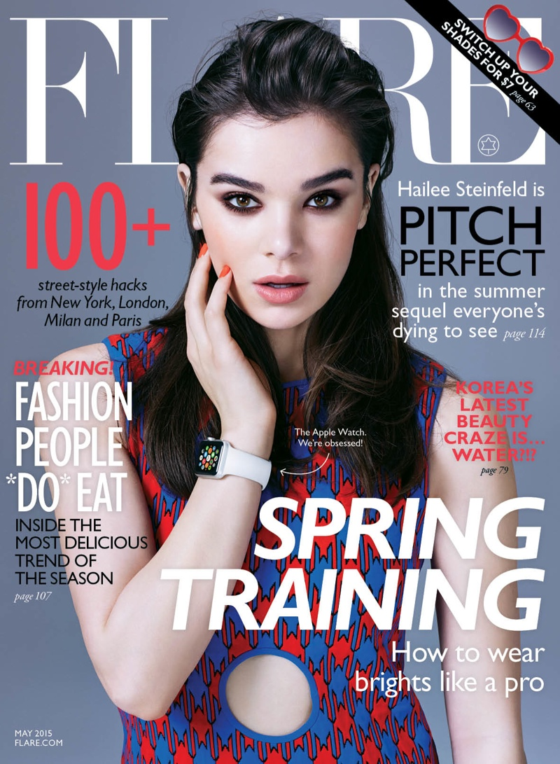 Hailee Steinfeld posed on the May 2015 cover of FLARE wearing the Apple Watch.