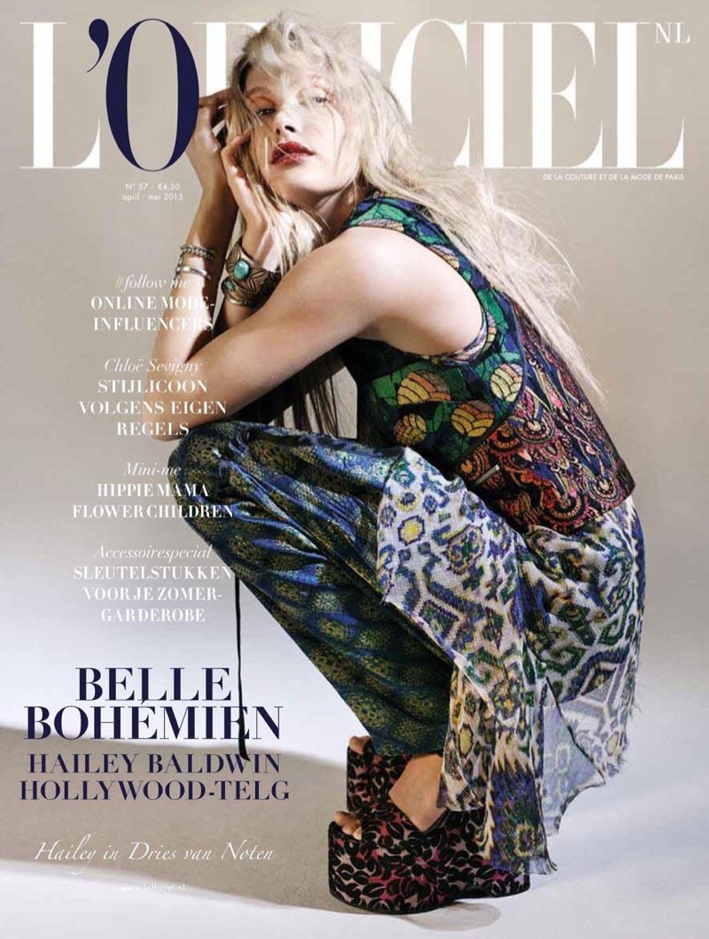 Hailey Baldwin wears Dries Van Noten on L'Officiel Netherlands' April/May 2015 cover