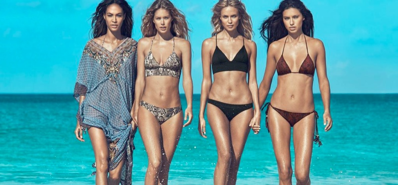 The models wear bikini styles and beach coverups in the advertisements