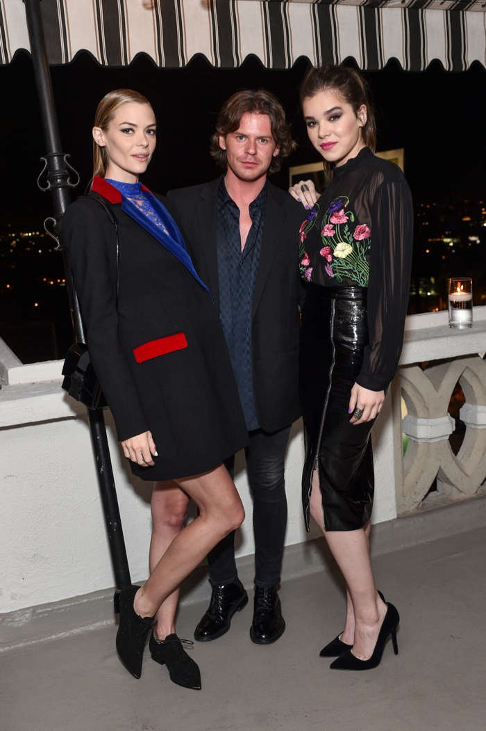 Jaime King in Christopher Kane, designer Christopher Kane & Hailee Steinfeld in Christopher Kane. Photo: Stefanie Keenan / Getty Images