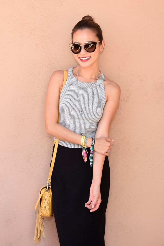 Jamie Chung goes for grey ribbed halter top from Forever 21 at Coachella. Photo: Stefanie Keenan/Getty Images for Forever 21