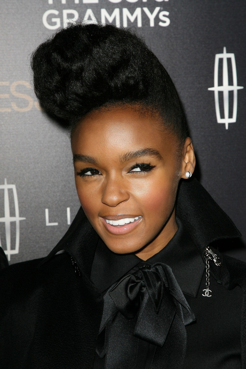 Singer Janelle Monae is known for her signature pompadour hairstyle.  s_buckley / Shutterstock.com
