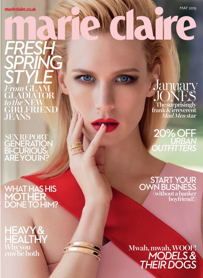 January Jones graces the May 2015 cover of Marie Claire UK.