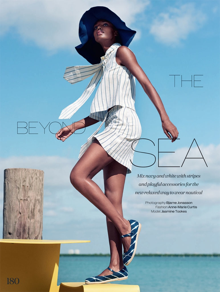 Jasmine Tookes models nautical style for the April issue of ELLE UK.