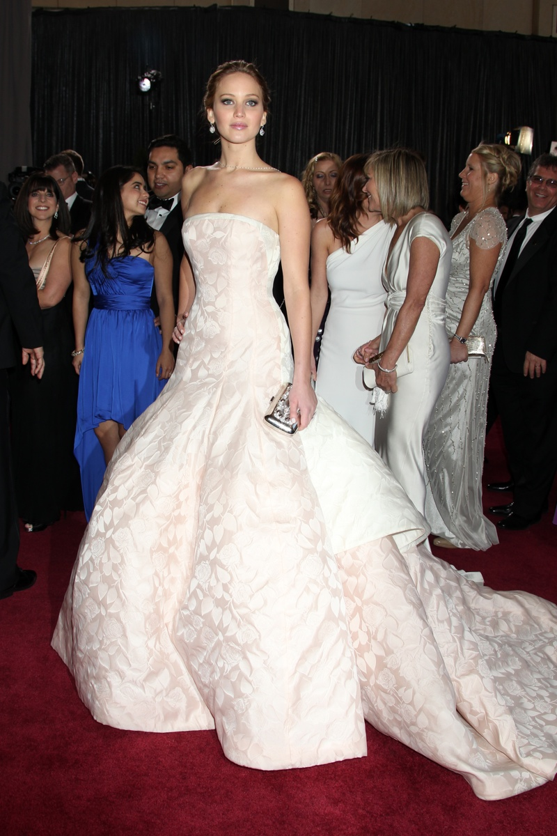 Jennifer Lawrence wore a Dior Haute Couture gown with a full skirt for her 2013 Oscar win for Best Actress, and quickly rose to A-list celebrity status. Helga Esteb / Shutterstock.com