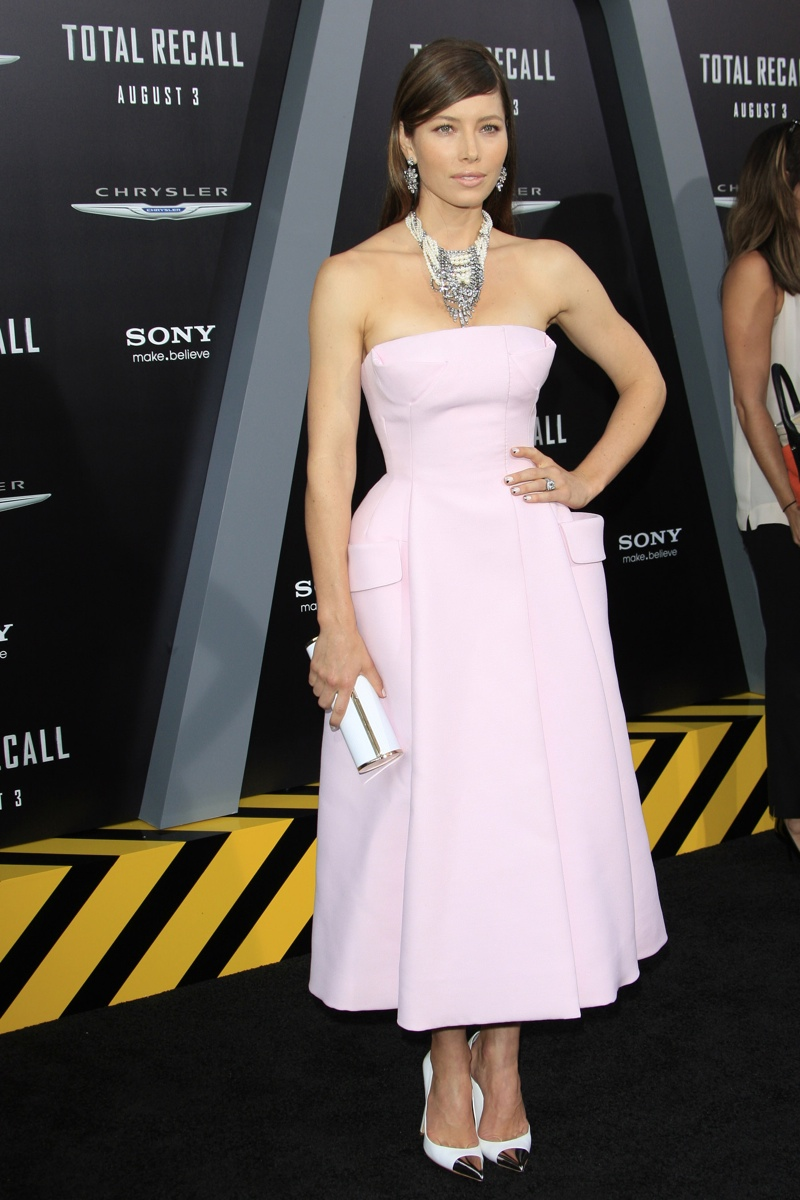 Jessica Biel opted for a pink Dior dress at the premiere of her film 'Total Recall' in 2012. Photo: Joe Seer / Shutterstock.com