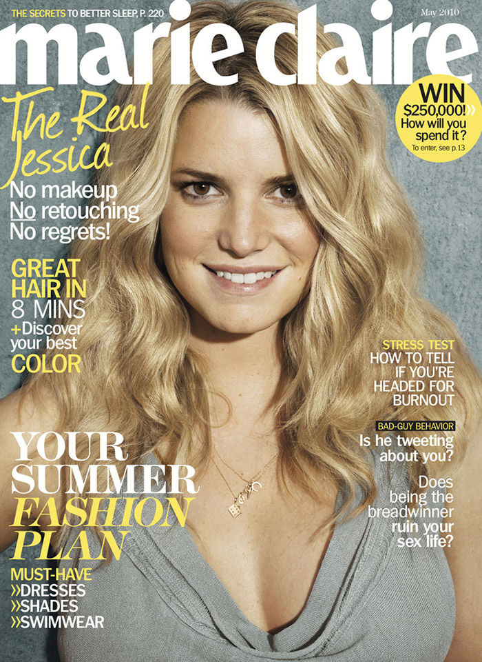 Jessica Simpson had no makeup and no photoshop for the May 2010 cover of Marie Claire US.