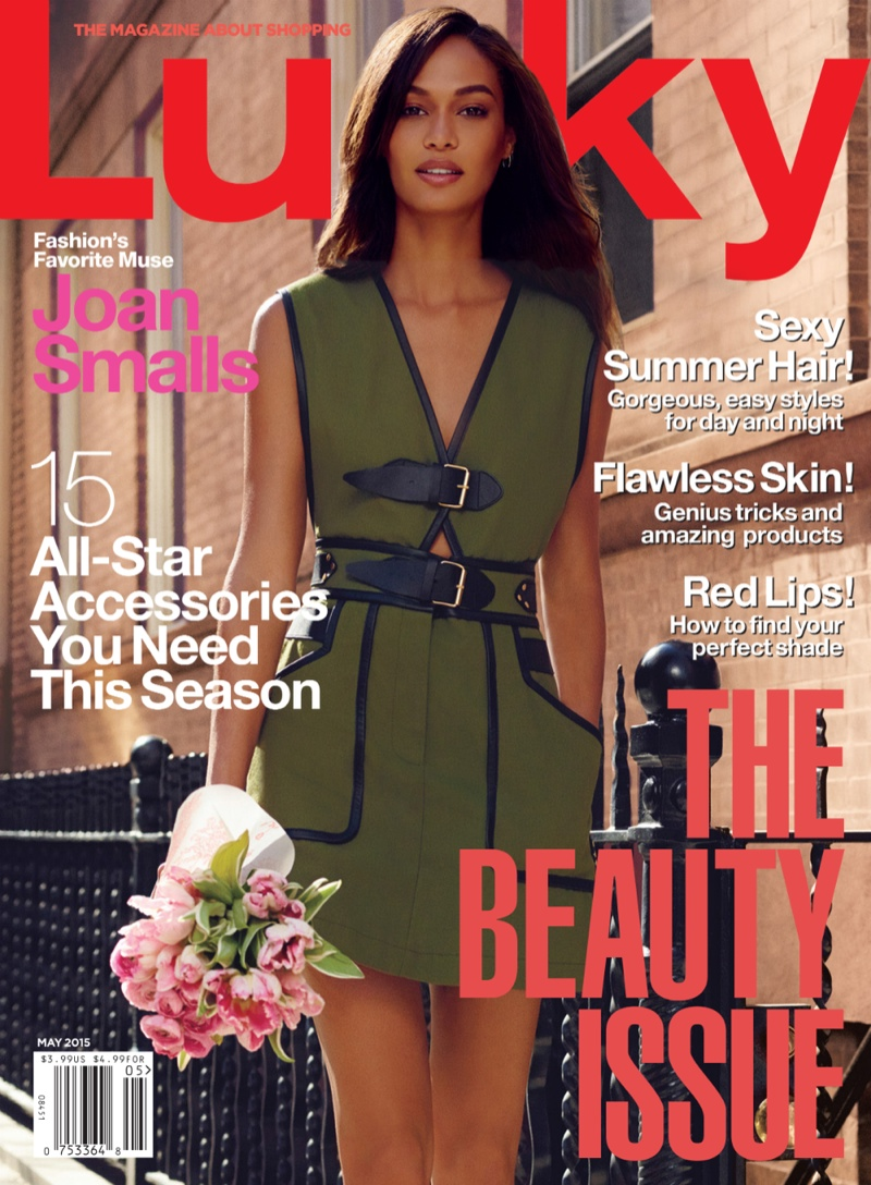 Joan Smalls graces the May 2015 cover of Lucky Magazine