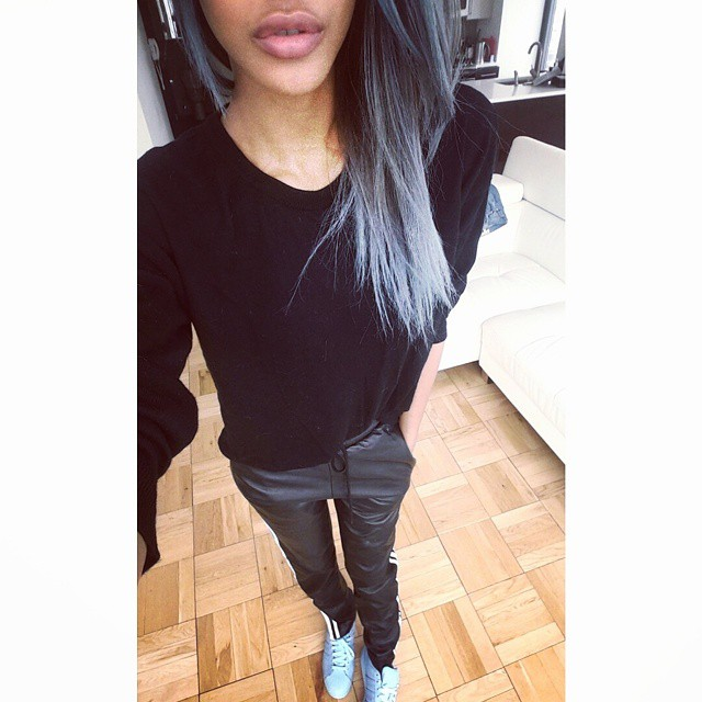 Jourdan Dunn rocks blue hair in a recent Instagram update.