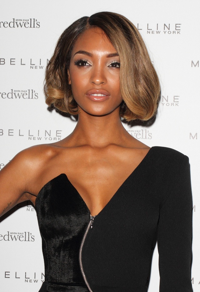 BEFORE: Jourdan Dunn with honey blonde bob hairstyle. Photo: Landmark / PR Photos
