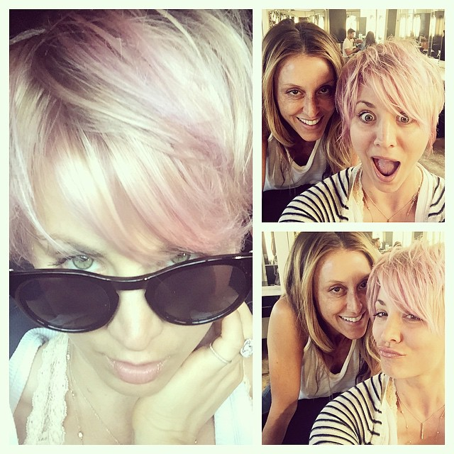 Kaley Cuoco revealed her newly dyed pink hair on Instagram.