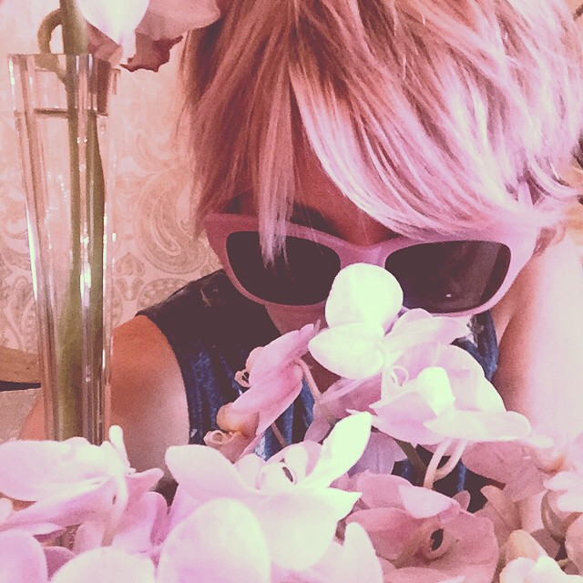 Kaley rocks a short pink pixie cut in this image. Photo: Instagram