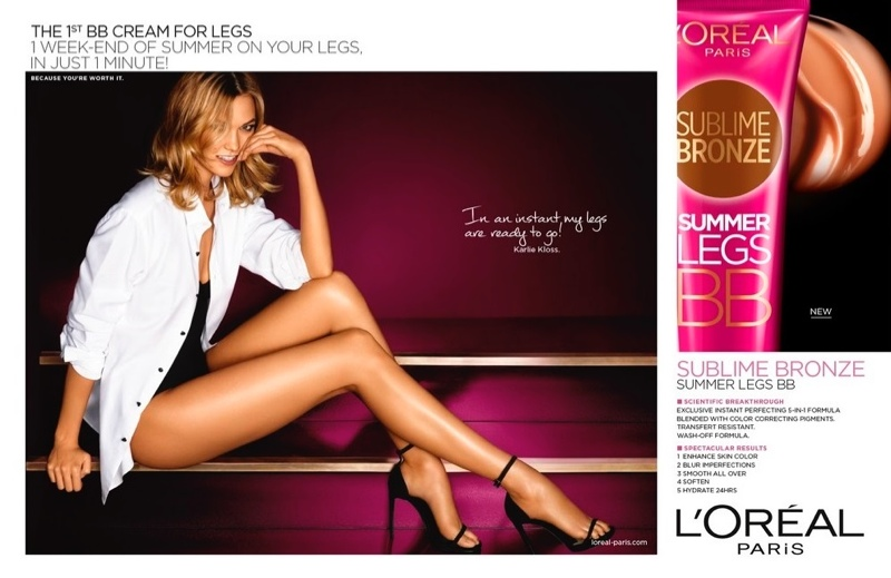 Karlie Kloss flaunts her legs in L'Oreal Paris 'Sublime Bronze Summer Legs BB' ad