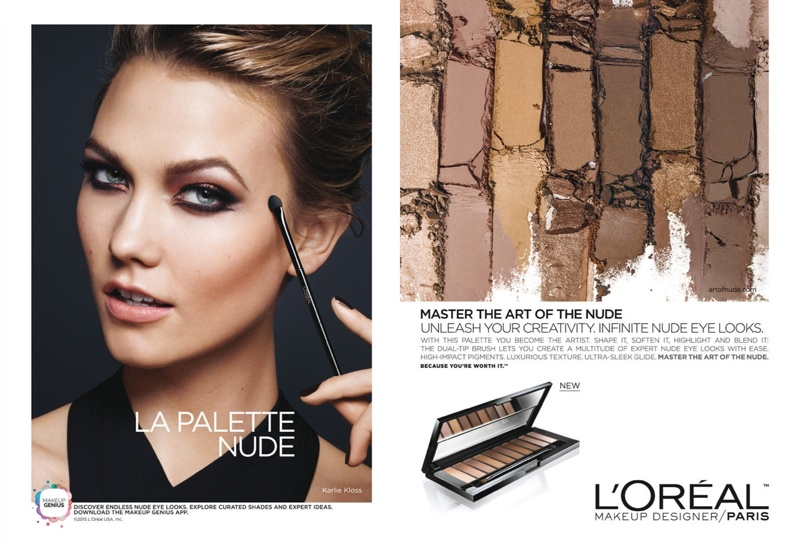 ... Karlie Kloss models neutral makeup hues in L'Oreal Paris 'La Palette Nude'