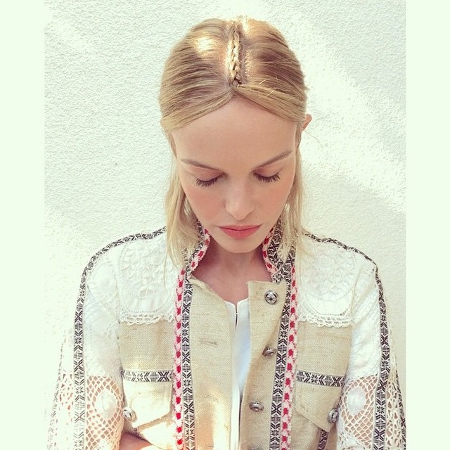 Kate Bosworth shared a hairstyle with braided center part for Coachella weekend. Photo via Instagram.