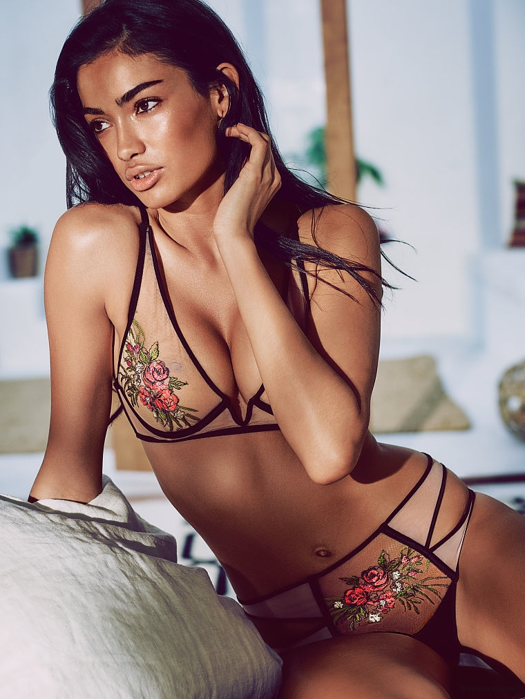 The dark-haired babe models the latest from Victoria's Secret