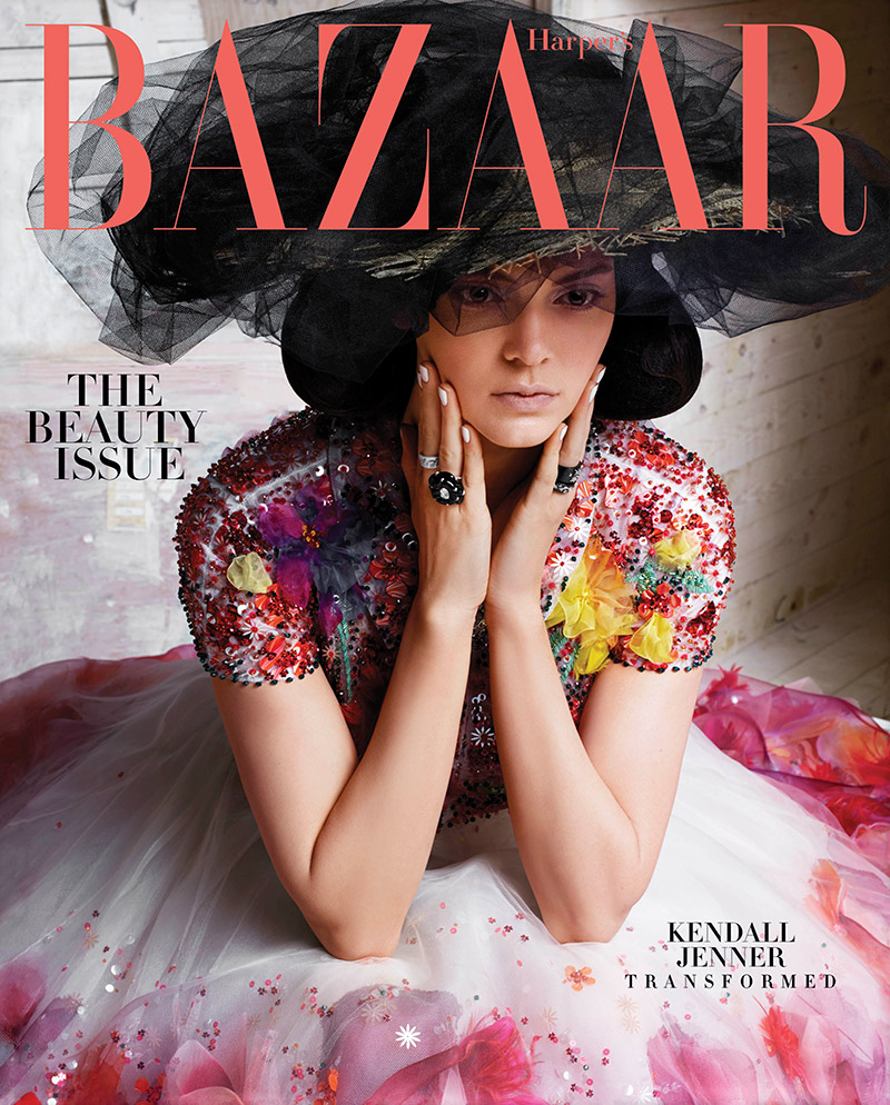 Kendall Jenner poses on Harper's Bazaar May 2015 cover photographed by Karl Lagerfeld