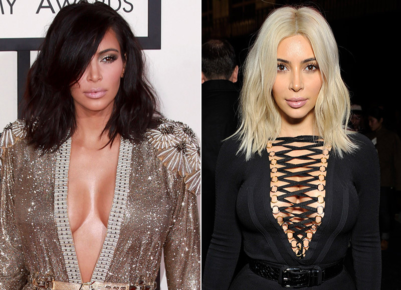 Kim Kardashian dyed her black hair platinum blonde in 2015, but dyed it back less than a month later. Photo: Helga Esteb / Shutterstock / Givenchy