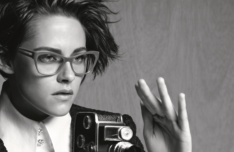 Kristen rocks a short hairstyle and optical frames for Chanel