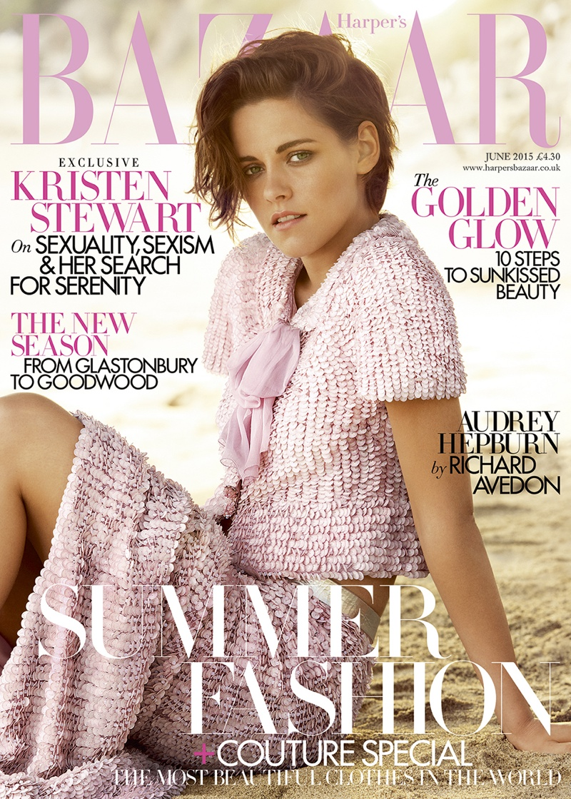 Kristen Stewart is Pretty in Pink for Harper's Bazaar UK Cover
