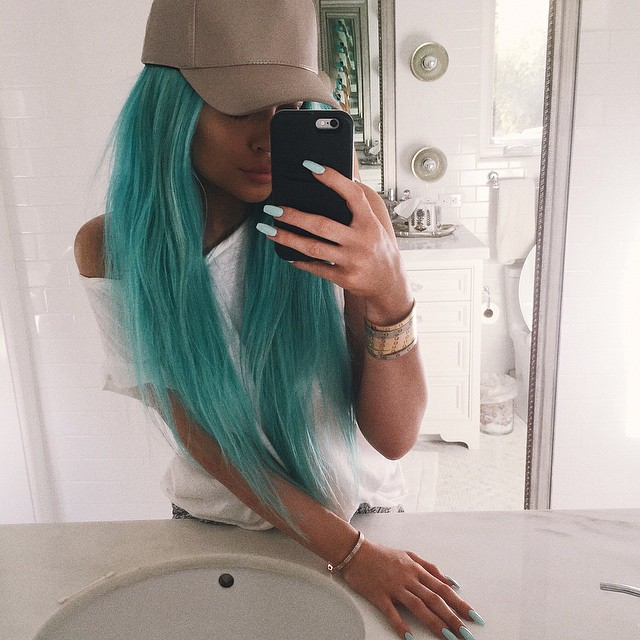 AFTER: Kylie shows off a long turquoise blue hairstyle on Instagram.