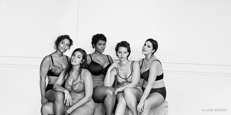 Models pose in #ImNoAngel Lane Bryant campaign, spotlighting lingerie.