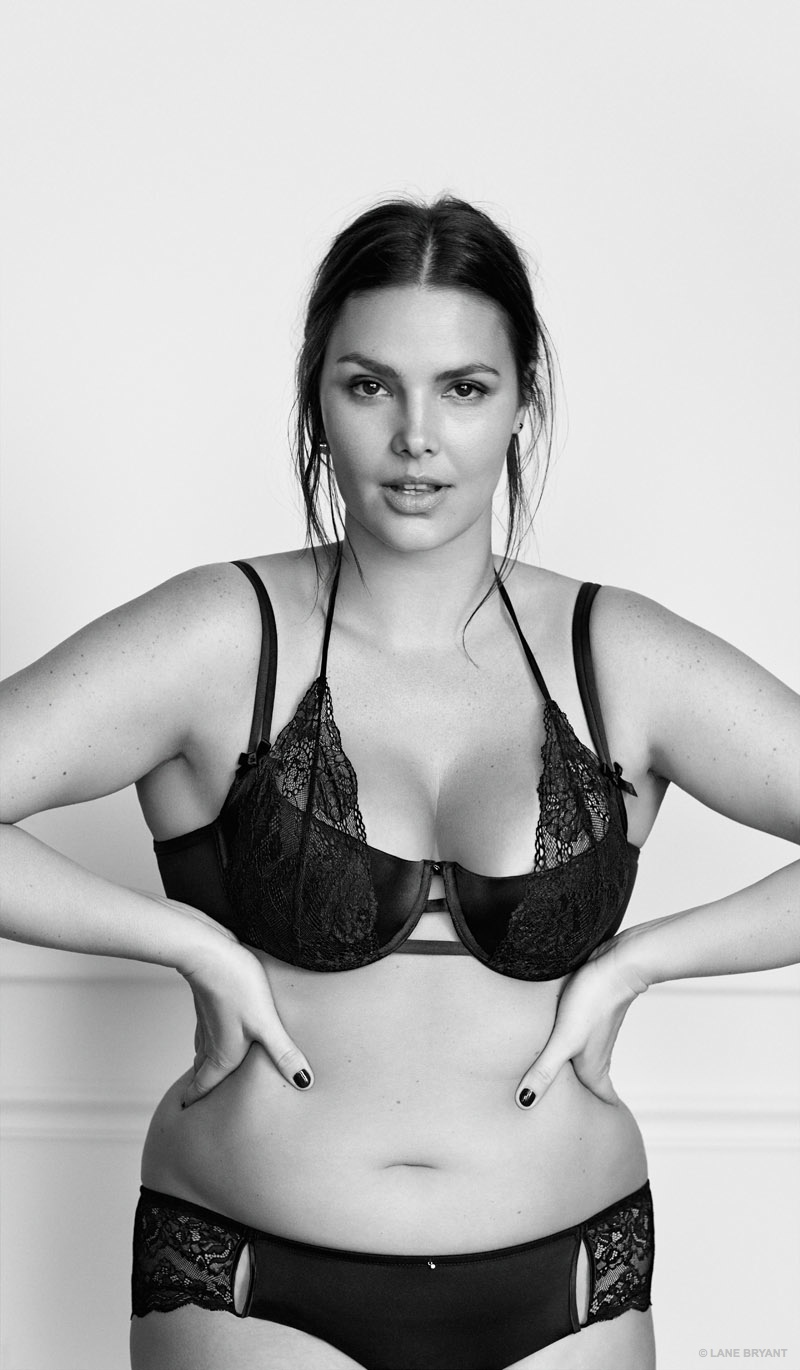 Candice Huffine stars in Lane Bryant #ImNoAngel lingerie advertisements.