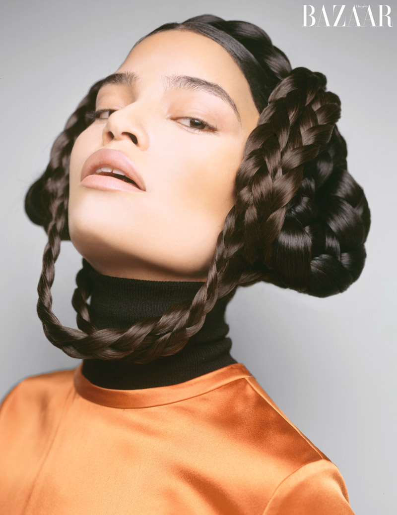 Laura James tries on a sci-fi chic, braided hairstyle