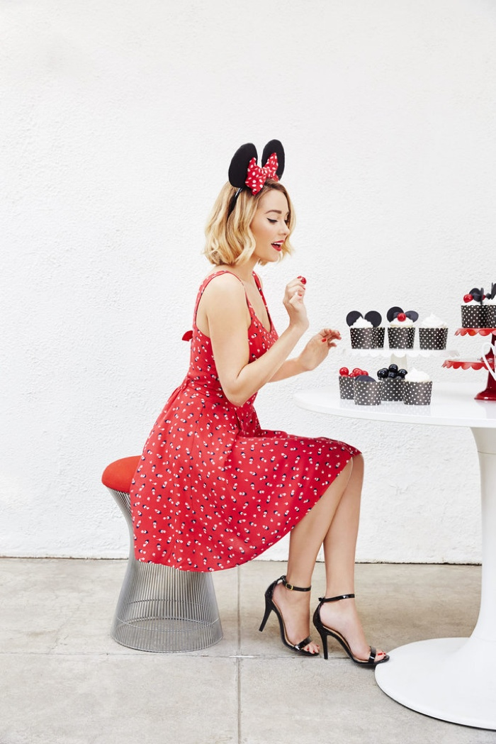 Colorful sun dresses with Minnie Mouse prints are featured in the LC collection