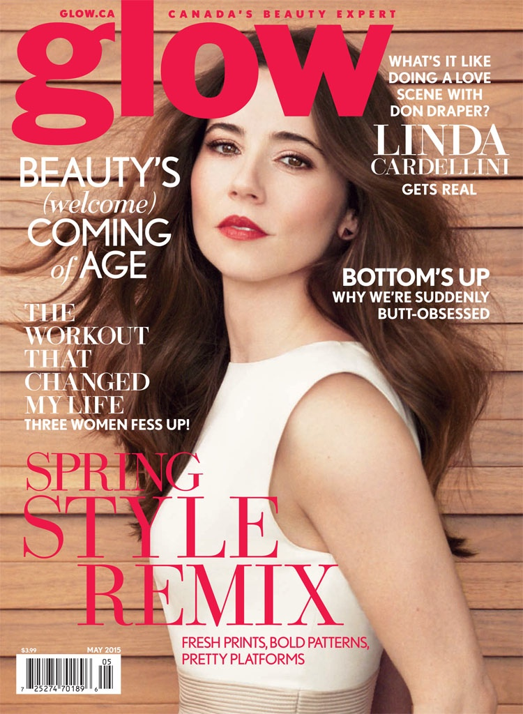 Linda Cardellini graces the May 2015 cover of Glow Magazine