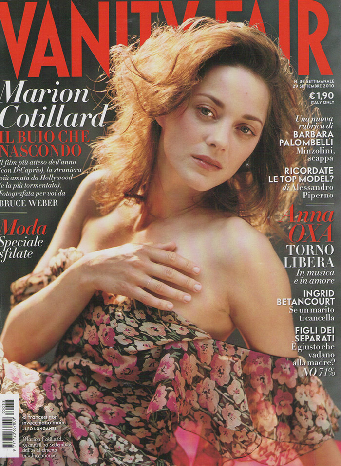Marion Cotillard went photoshop free for the September 2010 cover of Vanity Fair Italy. Photo: Bruce Weber