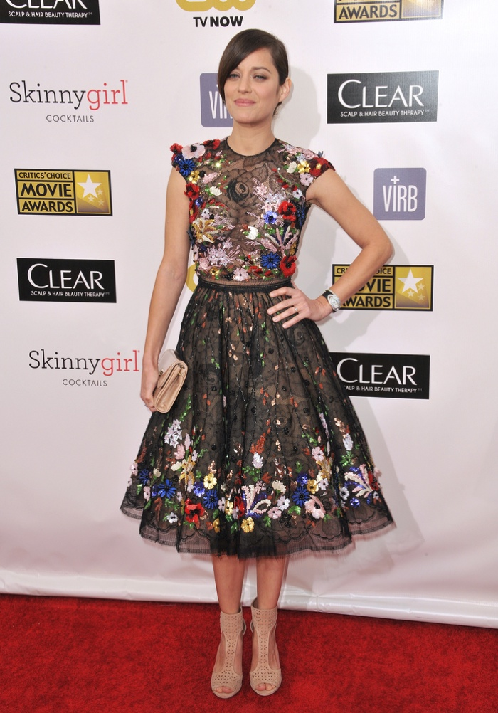 3D FLORALS: Switch up the floral look by taking on 3D embroideries. Marion Cotillard looks in full bloom with a Zuhair Murad couture dress featuring a mix of sheer fabric and flower appliqués. Photo: Featureflash / Shutterstock.com