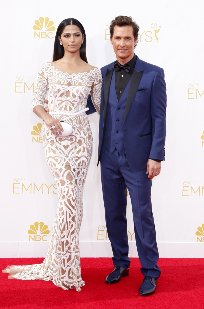Matthew McConaughey & Camila Alves were a stylish couple at the Primetime Emmy Awards in 2014. Alves wore a Zuhair Murad dress in white with McConaughey in Dolce & Gabbana Photo: David Gabber / PRPhotos.com