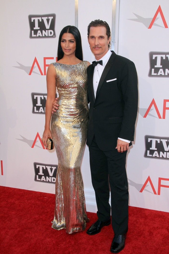 Camila Alves sparkled at the 39th Annual AFI Life Achievement Award in a Zuhair Murad gold dress with Matthew McConaughey looking quite dapper himself in a black suit. Photo: Andrew Evans / PRPhotos.com