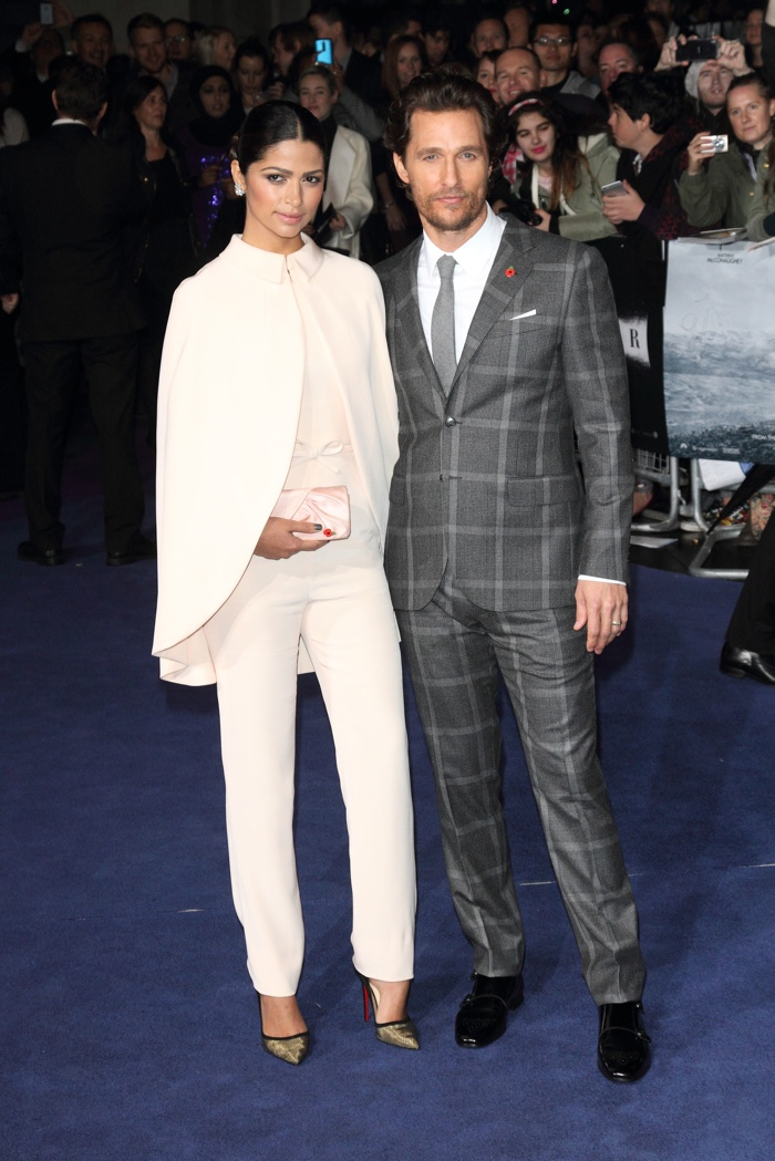 At the 'Interstellar' European premiere, Camila wore a Georges Hobeika Couture pants and cape look with Matthew in a Kent and Curwen suit. Photo: Landmark / PRPhotos.com