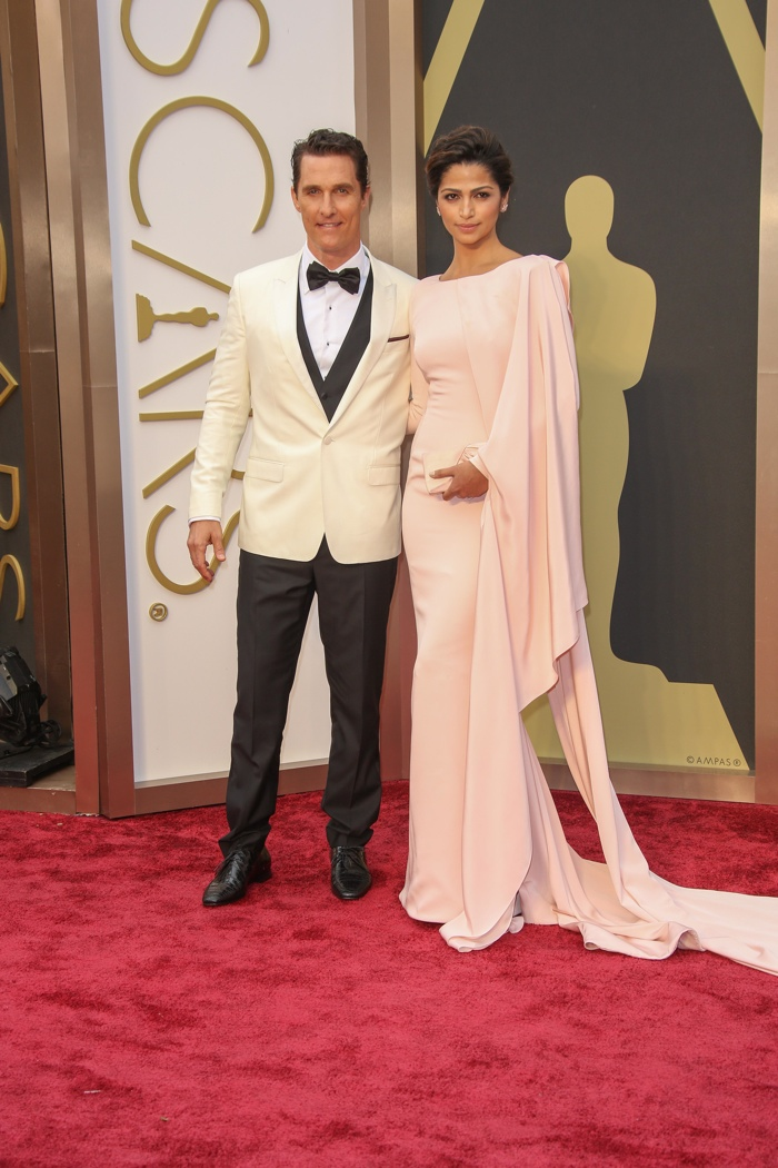 The 86th Annual Academy Awards was another stylish moment for the couple. Camila wore a Gabriela Cadena gown in blush pink with Matthew in a Dolce & Gabbana tuxedo. Photo: Andrew Evans / PRPhotos.com