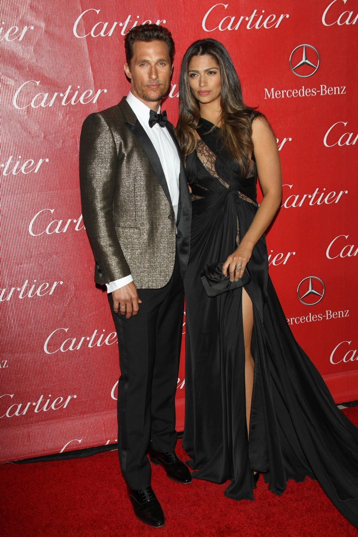 Matthew McConaughey wears Saint Laurent with Camila Alves in a cut-out Mikael D gown at the Palm Spring International Film Festival. Photo: Andrew Evans / PRPhotos.com