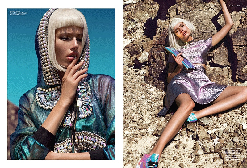 Heavy Metals: Paulina Models Metallic Looks for Stylist Arabia