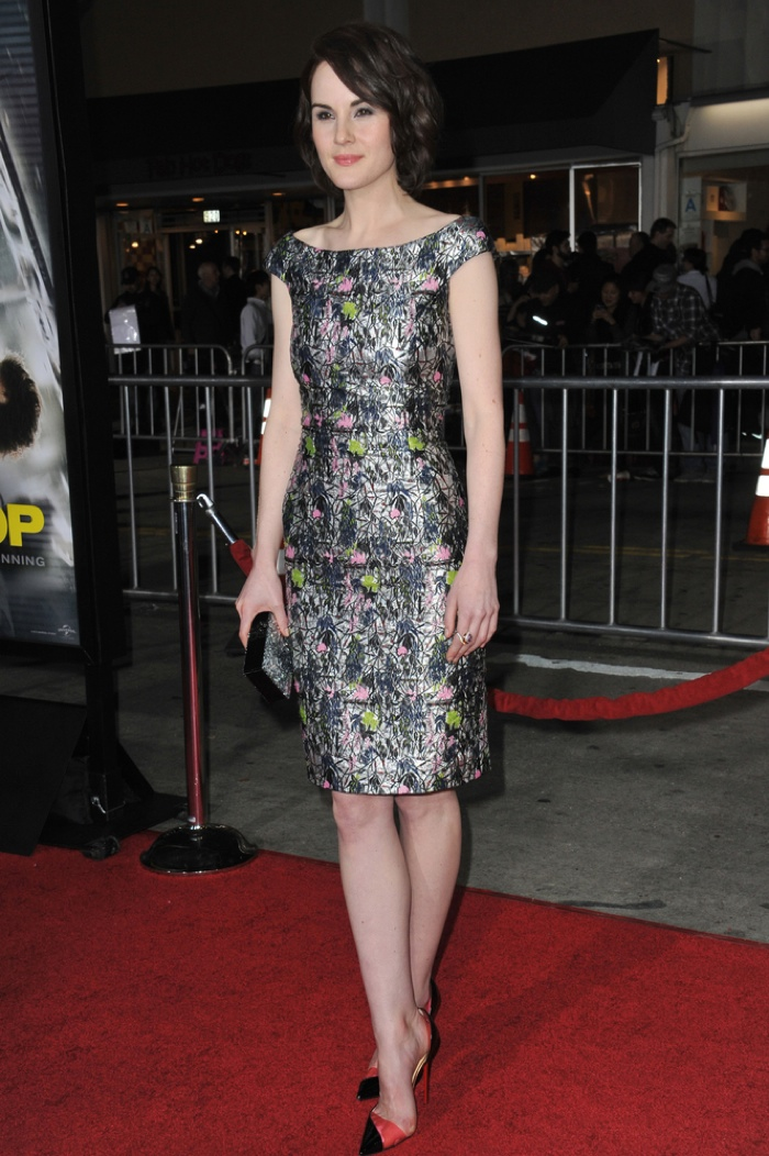 FLORAL METALLICS: Bring a futuristic edge to your floral look by wearing glittering metallic. Michelle Dockery's embroidered Dior dress certainly shines. But you can also get the same effect by wearing a floral print shirt paired with a metallic skirt or vice versa. Photo: Jaguar PS / Shutterstock.com