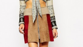 Milk It Suede Mini Skirt With Zip Front In Patchwork available for $81.00