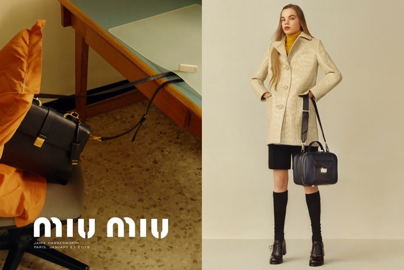 The pre-fall advertisements focus on the brand's leather accessories