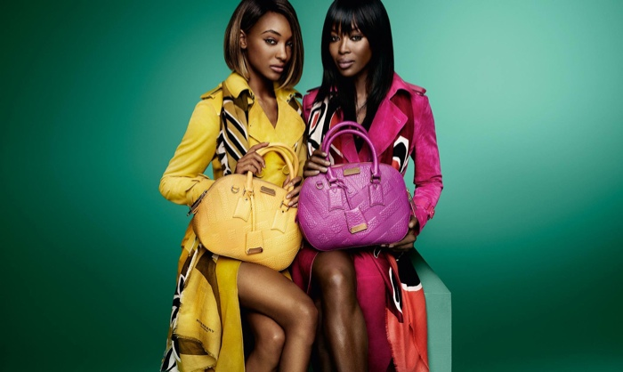 Naomi Campbell & Jourdan Dunn wear the Burberry trench coat in bold colors for the brand's spring-summer 2015 campaign.