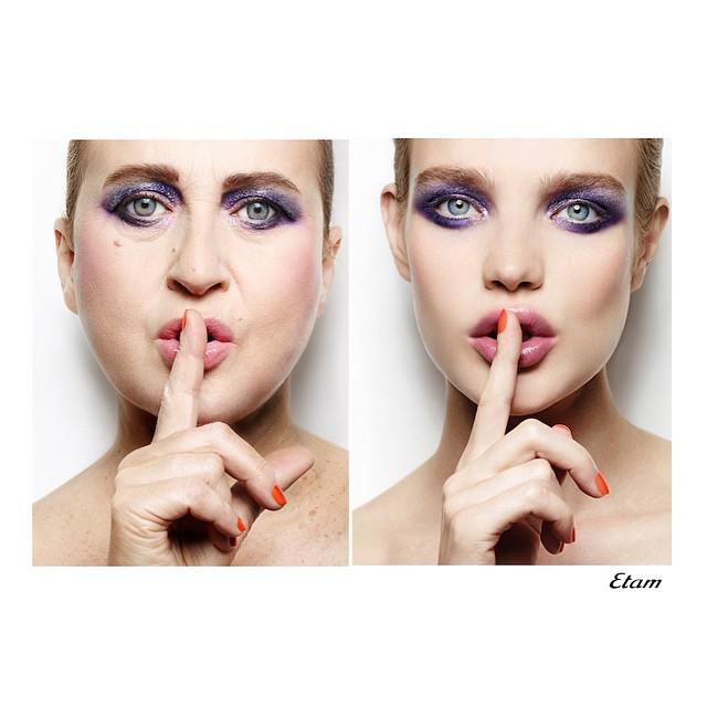 Nathalie Croquet spoofs an Etam ad with Natalia Vodianova