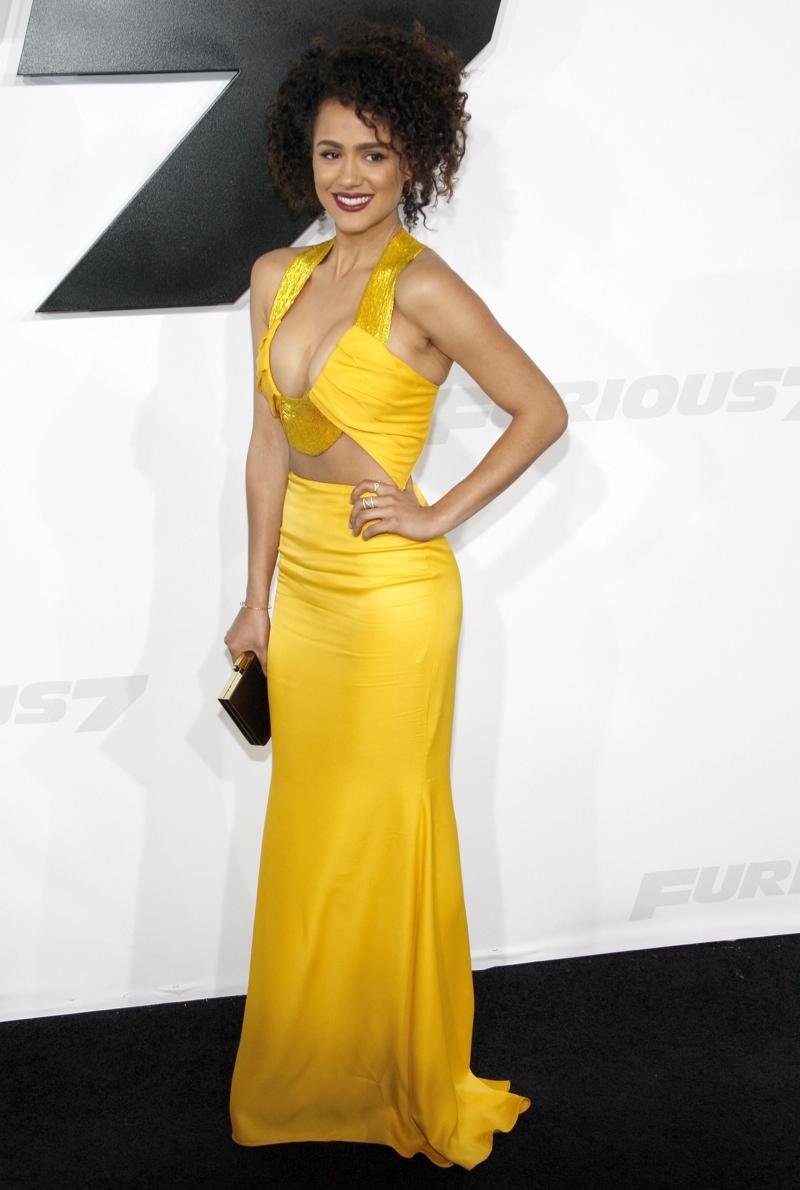 Nathalie Emmanuel wore a cut-out, yellow dress from Cushnie et Ochs. Photo: David Grabber / PR Photos