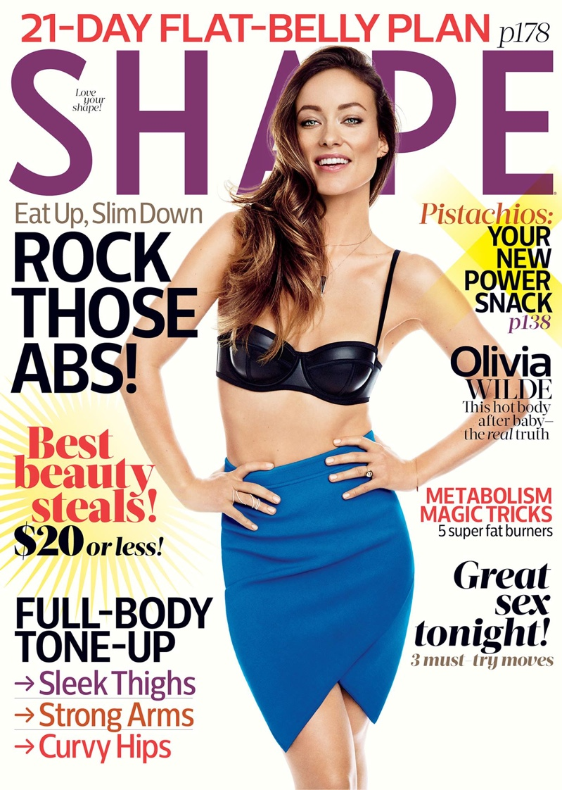 Olivia Wilde graces the April 2015 cover of Shape Magazine