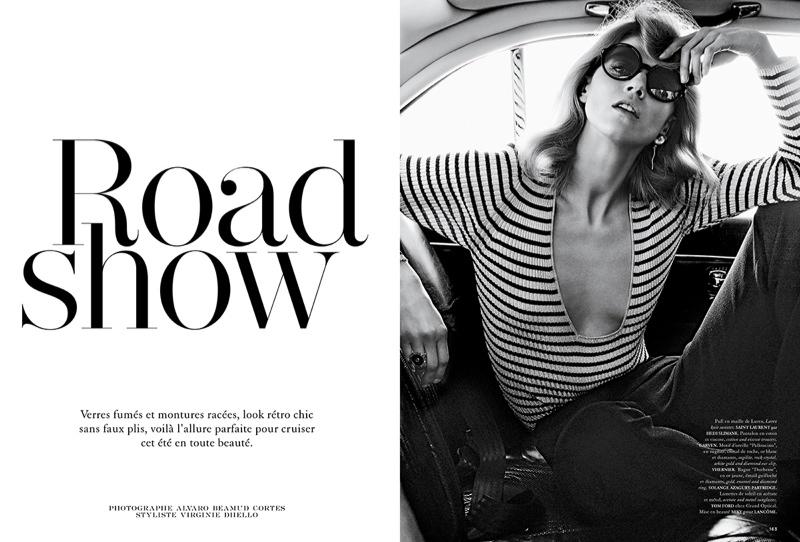 Masha Novoselova models retro-inspired sunglasses for Air France Madame